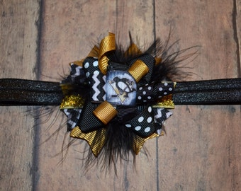 Pittsburgh Penguins Hair Bow, Choose Size, Hockey, Headband
