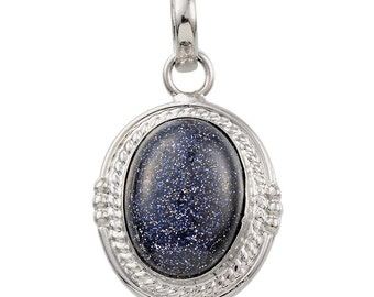 Blue Goldstone Oval Pendant without Chain in Silver-tone TGW 18.00 Cts.