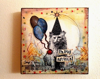 Party Animal #1---5x5 Mixed Media Collage, Cat Collage