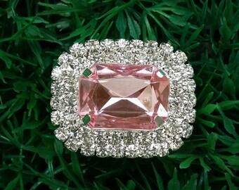 10 PCS Oval Wedding Buckles, Wholesale Rhinestone Embellishment Buckler  Diamante Bling Cake Decoration DIY Crafts, Ribbon Silders , A20