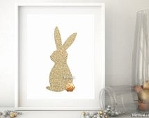 Gold bunny silhouette wall art, gold glitter bunny, gold easter bunny print, gold easter decor, gold silhouette art, gold bunny print -gp249