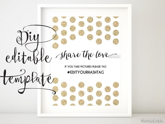 printable hashtag sign template diy wedding by blursbyaishop. Black Bedroom Furniture Sets. Home Design Ideas
