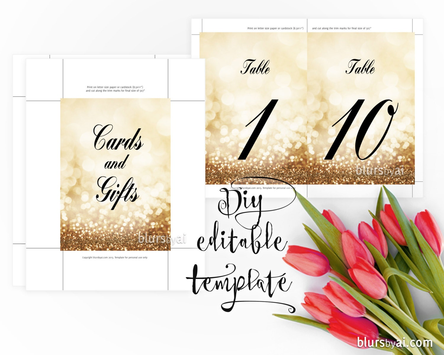 Gold color cardstock paper 5x7 - 5x7 Diy Printable Sign Template For Word Make Your Own Gold Wedding Signs And Table Numbers Gold Table Numbers Template Gp263 Olivia