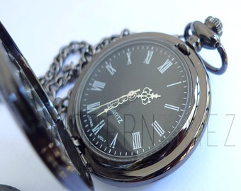 Gunmetal Finished - Gifts for Men - Groomsmen Gifts - Best man Personalized Pocket Watch-Valentine's day