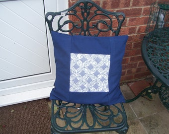 Cushion cover for 45cm cushion pad, cathedral windows central block in blue and white,  upcycled tablecloth background. Free UK shipping