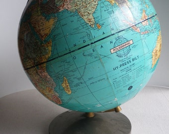 SALE! 1950s Weber Costello Hy-Press Bilt 12 inch vintage globe