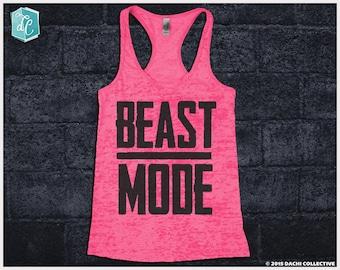 Beast Mode Tank. Fitness Tank Top. Marathon Racerback. Weight Lifting. Lifter. Inspirational Motivational. Running Racerback Tank Top