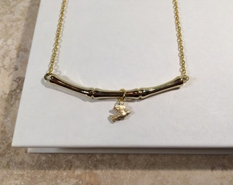 Gold Bamboo Bar and Bird Charm Necklace