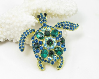 10pcs BLUE Green Turtle Tortoise Brooch Animal Crystal Rhinestone Brooch Bridal Wedding Bouquet Brooch Bridesmaid Favors Wholesale Brooches