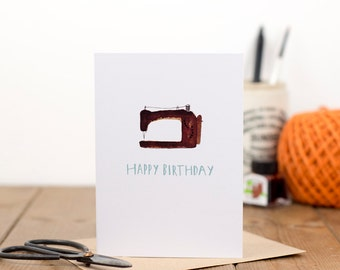 Singer Sewing Machine Happy Birthday Card