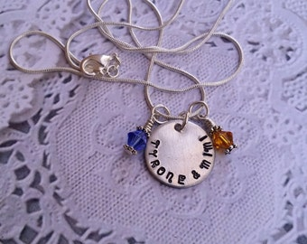 Hand Stamped  Necklace with one birthstone charm.-Personalized Necklace -Gift for Teenager, Sweetheart, Mother,Daughter, n