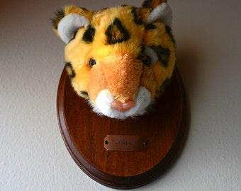 Leopard Stuffed Animal Wood Mounted Taxidermy Handmade
