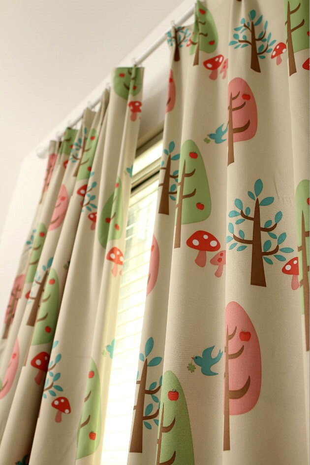 beige color two custom curtain panels triple woven fabric 80 light blocking cartoon tree bird mushroom kids room baby nursery curtain