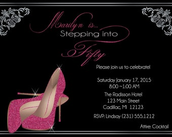 Pink Glitter Shoes Adult Birthday Party Invitation - Women's 40th, 50th, 60th, 70th, or any age birthday invitation