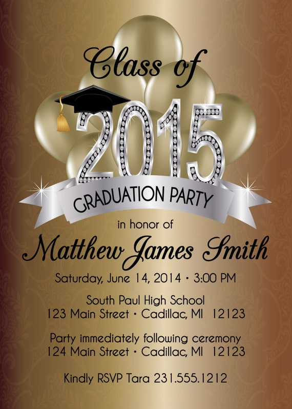 Items Similar To Elegant Graduation Invitation Silver