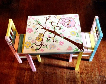 Hand Painted Kids table and chair set