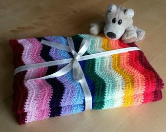 Rainbow baby blanket crochet ripple blanket afghan, Baby blanket, Chevron pattern, lapghan. Size 50 x 60 inches