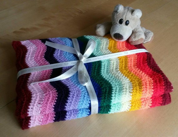 Crochet Rainbow Baby Blanket Pattern By Flavia : Rainbow baby blanket crochet ripple blanket afghan Baby