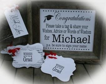 Wishes for the Grad, Graduation Party Idea, Grad Party Decor, Grad Q, Graduation Guestbook, Grad Party Idea, Graduation Wishes,
