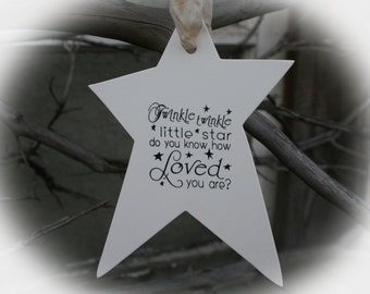 BABY SHOWER Ideas-25 Wishing Tree Tags- Baby Shower Wishing Tree-Twinkle Twinkle Little Star Do you know how Loved you are?- Ivory Cardstock