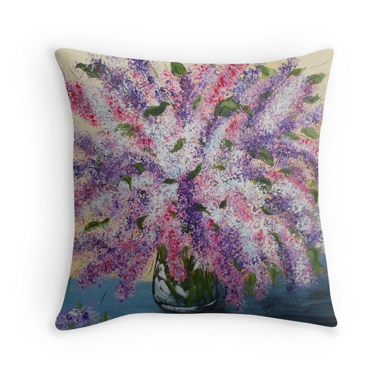Lilac Floral Throw Pillow : Decorative Pillows Lilac flowers artist designed by ArtbyKatsy