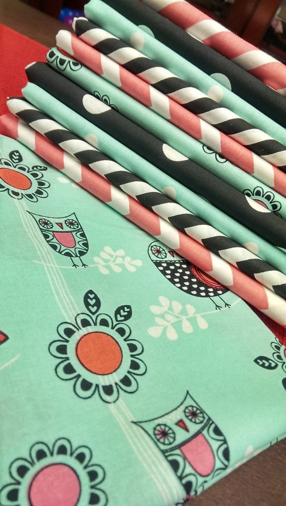 Owl fabric bundle kids fabric chevron dots yardage baby for Childrens fabric bundles