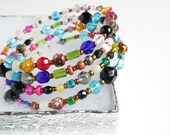 Colorful Beaded Memory Wire Wrap Bracelet, Beaded Wrap Bracelet, Memory Wire Bangles