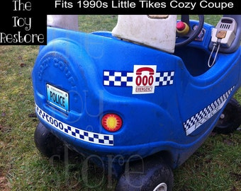 New Replacement Decals Stickers for 1990s Little Tikes Tykes Cozy Coupe Ride On Deluxe Australian Police Car
