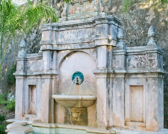Old San Juan Puerto Rico, Old San Juan Photography, San Juan Art, San Juan Fountain, Puerto Rico Travel Photography, 8x12 Photo Print