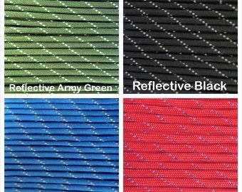 Reflective 550 Paracord Mil Spec Type III 7 strand Bracelet Necklace Survivor Parachute Cord 1-1000' Lengths