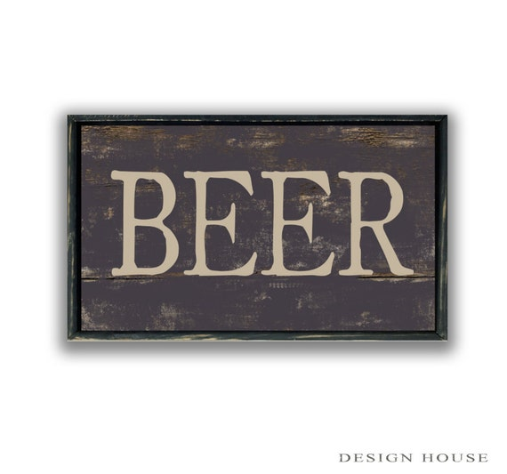 Handmade Man Cave Signs : Wooden handmade beer sign framed in wood bar signs mancave