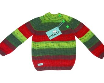 Christmas red and green baby cardigan antypilling acrylic in size 104, 2,5-3 years old
