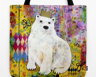 Polar Bear Tote Bag, Bright Art Beach Bag, Fun Carry All, Recyclable Tote, Reusable Tote, Creative Polar Bear, Folk Art Print Polar Bear Art
