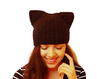 Black Cat Hat, Cat Ear Hat, Kitty Ear Beanie, Gothic Hat, Cat Beanie, Black Toque, Women knit gift Square Cap kitten yarn hat