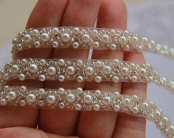 White Beaded Lace Trim, Rhinestone Pearl Lace Trim, For Wedding Bridal Belt Dress Sash Jewelry 0.39'' Wide. E8044