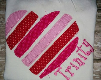 Girls Valentine's Valentine Tshirt Shirt Raggy Heart Valentine's Day Personalized Embroidered Shirt T-Shirt Girl! Sizes  2 ,3, 4, 5, 6, 7, 8