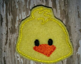 Set of 4 Chick Chicken Face Head Easter Feltie Felt Embellishment Bow! Birthday Party
