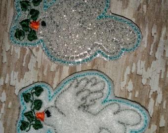 Set of 4 Doves Felties Dove Religion Jesus Christian Peace Olive Religious Easter Feltie Felt Embellishment Bow! Birthday Party Planner