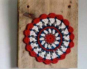 "Painting on wood ""Crochet mandala Pink"""