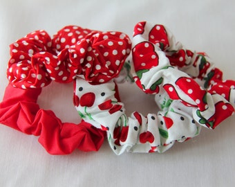 Hair Scrunchies - Red Scrunchie - Polkadot Scrunchie - Strawberry Scrunchie - Cherry Scrunchie - Fruit Scrunchie - Cotton Scrunchies