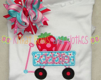 Strawberry Wagon Applique Shirt and Matching Hairbow - Fruity - Flower - Girly