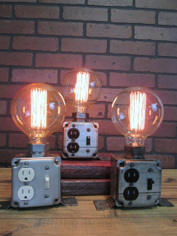 Industrial Table Desk Lamp Charging Station By