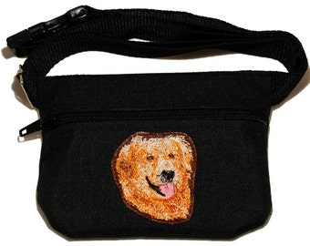Embroided dog treat waist bag. Breed - Golden Retriever. For dog shows and training. Great gift for breed lovers.