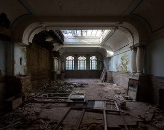 Abandoned reception hall of a grand hotel in France