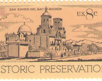 10 Unused 1971 Historic Preservation - San Xavier Del Bac Mission - Vintage Postage Stamps Number 1443