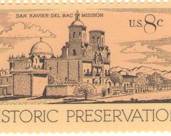 10 Unused 1971 Historic Preservation - San Xavier Del Bac Mission - Vintage Postage Stamps Number 1443