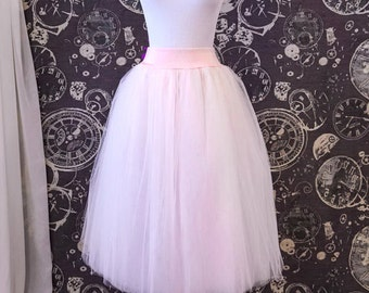 Blush Pink Tulle Skirt with Stretch Waist - Tea Length Adult Tutu - Midi Skirt - Petticoat with Lycra Waistband - Custom Size, Made to Order