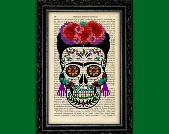 Sugar Skull FRIDA KHALO Girl Print Dia de los Muertos Poster Dorm Room catrina skulls print Bones Print Poster Dictionary Retro Art (Nº14)