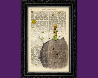 The Little Prince Book Art Print Le Petit Prince Dorm Decorations Antique Book Page Antique Dictionary baby gift baby shower gift (Nº1)