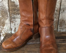 Vintage 70s Zipper Boots / 70s Square Toe Boots / Campus Boots / Mens Boots / Hippie Boots